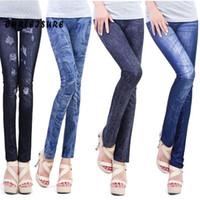 Wholesale 14 Slim Jeans - Wholesale- 14 Colors S-XL Women Fashion Pants Thin Denim Jeans Leggings Hole Pleated Nine Plus Size Stretch New Fashion Slim All Match