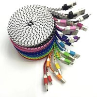 Wholesale Cloth Iphone Cable - 1M 2M 3M Fabric Braided Noodle Flat Charging USB Wire Nylon Sync Cloth Woven Universal Micro USB Cable For Samsung S4 HTC