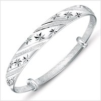 Wholesale Korean Fashion Order Wholesale - 11 Designs Mix Order Korean Adjustable Star Shower Forever Love Imitation 999 Silver Cuff Bangle Bracelet Fashion Jewelry for Female