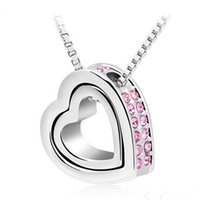 Wholesale Silver Chain Sellers - Heart Necklaces Pendants Best Seller Silver Plated Jewelery From India Nickel Free Fashion Jewelry For Women 6 Colors