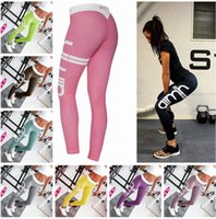 Wholesale Printed Pencil Trousers For Women - Hot Yoga Gym Leggings Pants For Women Super Elastic Sexy letter printed Slim Sprots Fitness Leggins Bodycon Pencil Trousers