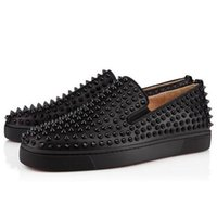 Wholesale Loafers For Men Spiked - Luxury Designer Red Bottom Loafers For Men,Genuine Leather Slip On Platform Casual Sneakers Spikes Wedding Party Flats Men Shoes 39-46