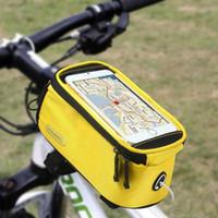 Wholesale Dirt Bike Plastic - HOT Bike Bicycle Bag iphone 7 Waterproof case Outdoor Sport Bag Front Tube Holder Handlebar Phone Touch screen for gooPhone s7 edge package