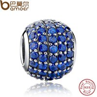 Wholesale Pandora Blue Lights - Pandora Style Luxury 925 Sterling Silver Pave Light Blue Crystal Ball Charm Fit Original Bracelet With Clear Cubic Zirconia PAS071