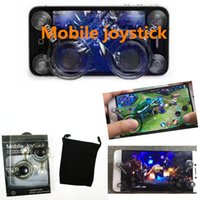 Wholesale Touch Pad Cell Phones - 2pcs Lot Cell Phone Pad retail package Mobile Joysticks Mini Screen Device Touch Screen Joystick For Smartphone Tablet Arcade Games