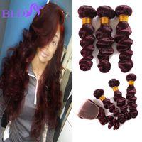 Wholesale Brazilian Loose Wave Closure - Top Quality Burgundy Brazilian Human Hair Loose Wave With Closure Dark Wine Red Brazilian Hair With Closure Red Bundles With Closure