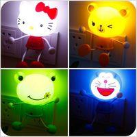 Wholesale Led Panda Lamp - Wholesale- LED Lights Sensor Control Cartoon Baby LED Night Light Children Panda Bear Novelty Lighting Lamp Kids Room LED US Plug