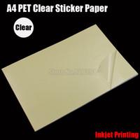 película adhesiva transparente al por mayor-Al por mayor- 2016 25 piezas A4 transparente transparente PET película adhesiva papel adhesivo papel impermeable ajuste impresora de inyección de tinta cip01