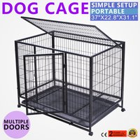 Iron outdoor playpens - 37 quot Dog Crate Kennel black Heavy Duty Pet Cage Playpen Tray Pan and Wheels