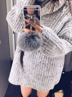 Wholesale Rabbit Iphone 4s - Luxury metal rope mirror rabbit fur ball bag shell suitable for iPhone 6 6S 7 is for iPhone 5 5S SE 4S 4