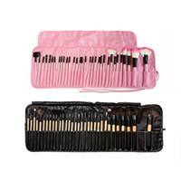 Wholesale Wholesale Mini Tool Sets - MINI Beginners 32 Set of Professional Makeup Brushes Set Brushes Beauty Tool Original Wood Color Pink Black