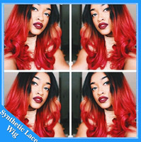 Wholesale Bright Red Wig - Ombre Red Loose Body Wave Synthetic Lace Front Wig 1B Black to Bright Red Two Tone Color Heat Resistant Fiber Synthetic Wavy Wig