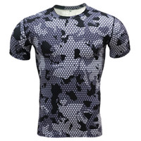 Wholesale camouflage wholesale - Wholesale- Summer Compression Camouflage Casual Shirt 2016 Fitness Men Short Sleeve Tights Bodybuilding Crossfit Flash Camo T-Shirt