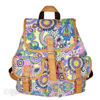 lona mochila moda venda por atacado-Nova Moda Senhora Estilo Étnico Bookbag Mochilas de Viagem Mochila Escolar Mochila Canvas Back Pack Adolescente Meninas Mochila Back Pack à Venda