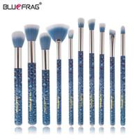 Wholesale New Hair Styling Tools - Bluefrag New Style 10pcs Makeup Brushes Set Foundation Powder Eye Shadow Brow Blush Beauty Cosmetic Tool Brush Kit Maquiagem