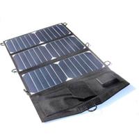 ingrosso pannelli solari neri-Caricabatterie solare portatile a doppio pannello solare di alta qualità 21W con tecnologia USB per la maggior parte dei dispositivi USB Caricabatterie a celle solari nero impermeabile Spedizione gratuita