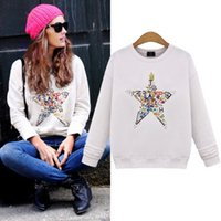 Wholesale Studded Clothes - 2017 New Fashion Spring Autumn Clothing Womens Cute star studded Print Pullover Crewneck Fleece Sweatshirt Hoodies