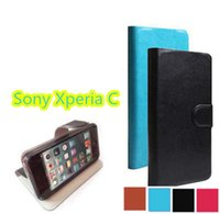 Wholesale Leather Case Xperia C - (1 pcs   lot) Hot sale Original PU Leather Case Cover for SONY Xperia C S39H C2305 Cell Phone Cell Phone Holster + Touch Pen Gift