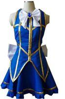 traje de cosplay lucy venda por atacado-Malidaike Anime Fairy Tail Lucy Heartfilia Vestido Azul Traje Cosplay Do Partido Do Dia Das Bruxas Vestido