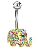 Wholesale Elephant Body Jewelry - Elephant Fashion Rhinestone Body Piercing Belly Button Neoglory Rings Navel for Women Body Jewelry 2017 Brand