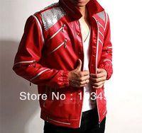 Wholesale Beat Man - Michael Jackson MJ Costume Beat It Leather Jacket Free Billie Jean Glove