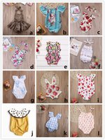 Wholesale Denim Lace Girls Kids - 12 styles baby girl romper kid clothes bodysuit floral plaid lace leopard solid headband ruffles sleeve buttons 2017 summer Ins briefs 0-2Y