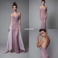 Wholesale Heavy Collar - 2017 Berta New Collection Lavender Prom Dresses Sweetheart Heavy Beaded Crystal Detachable Train Sexy Backless Formal Evening Party Gown