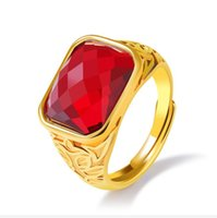 Fashion Day Jewelry Hommes Cool Gold Plated Confort Fit Ruby en acier inoxydable Anneaux - Red Gem, Black Gemstone Options - Good For Gifts