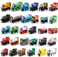 Wholesale Cartoons Cars Kids - Wooden Small Trains Cartoon Toys 70 Styles Trains Friends Wooden Trains & Car children boy girl Toys Best Christmas Gifts Free Shipping