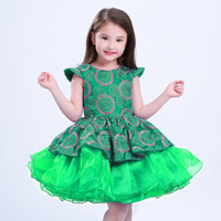 Wholesale Embroidered Neck - Princess Girls O-neck Dresses Summer 2017 Embroidered Floral Children Ball Gown Party Clothing Toddler Girl Tutu Kids Dress Free DHL