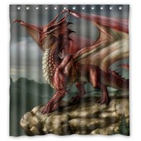 """Wholesale Dragon Curtains - Sea Dragons and Fire Dragons Art Bathroom 100% Polyester Shower Curtain (66"""" Wide X 72"""" Long)"""