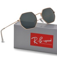Wholesale Polygon Mirror - 1pcs High quality Polygon Sunglasses women men Brand Designer Fashion Mirror uv400 Vintage Sport Driving Sun glasses Goggle With brown cases