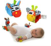 Wholesale lamaze online - New Lamaze Style Sozzy Rattle Wrist Donkey Zebra Wrist Rattle and Socks Toys wrist socks JC97