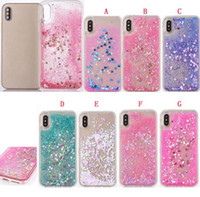 Wholesale Diamond Bling Heart Iphone - Quicksand Liquid PC TPU Case For IPhone X IphoneX Star Heart Love Diamond Dynamic Bling Glitter Sparlke Fashion Phone Skin Cover 100pcs