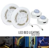 Wholesale Dc 12v Sensor - Motion Activated Bed Light Emotionlite LED Motion Sensor Bedside Light Strip bias Lighting Bedroom Light under Cabinet Hallway Dark Corner