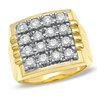 Wholesale Yellow Diamond Engagement Ring Solid - 3.50 CT Swarovski Diamond Men's Ring in 10k Solid Yellow Gold