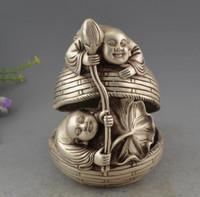 Wholesale Africa Figure - Vieux Chinois Argent 2 Boy Tenir Lotus Chanceux Figure Statue Encens Encensoir