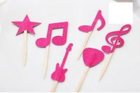 Wholesale Cheap Baby Showers Favors - Custom 30pcs cheap Rock and Roll Star Musical Note Cupcake Toppers - Toothpicks - Food Picks wedding baby shower birthday party favors