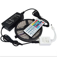 Wholesale Led Ac Adapter 12v - 5M Led Strip 5050 SMD RGB Waterproof 300 LEDs Roll with 44 keys IR Remote with 12V 5A Power Adapter used directly