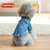 Wholesale Dog Jeans Apparel - Hipidog Dog Puppy Cat Denim Jeans Shirts Cute Banana Pattern Printed Coat Jacket Clothing Apparel for Small Dogs Cats Pets Free Shipping