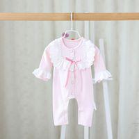 Wholesale Girl Pajamas Bowknot - 2017 New toddler jumpsuit Spring Autumn Lace Bowknot Long Sleeve newborn Romper Korean Cute Infant Onesie newborn pajamas C563