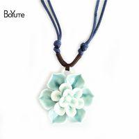 Wholesale Lotus Ceramics - BoYuTe 2 Colors Diy Handmade Adjustable Rope Chain Ceramic Pendant Lotus Flower Necklace Vintage Style Necklace