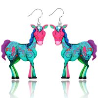 Dangle & Chandelier paint pony - hot colorful creative gift animal pendant earrings acrylic painted cartoon pony drop earrings for women jewelry