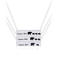 Wholesale Moms Christmas Gifts - Inspired Silver Plated Bar Necklace Polar Mama Bear Necklace Gifts for Mom Wife Mother's Day Gift Birthday Remembrance Option 6