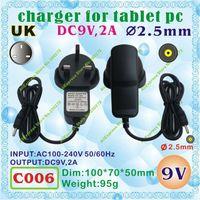 Wholesale Tablet Ainol Onda Cube - Wholesale- 2pcs [C006] DC 2.5mm   9V,2A   UK power plug (United Kingdom Standard) Charger or Power adaptor for tablet pc;onda,ainol,cube