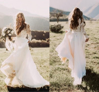 Wholesale White Boho Top - Hot Sale With Sheer Long Sleeves Country Wedding Dresses A Line Bateau Neck Lace Top Chiffon Boho Bridal Gowns Cheap