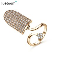 New Arrival Rose White Gold Color Nail Ring For Women Flower Embellishment Cubic Zirconia Tamanho Ajustável Punk Finger Ring Jóias LUOTEEMI
