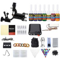 Wholesale Tattoo Equipment Free Shipping - Tattoo Kit 1 Rotary Equipment Machine Gun 7 Color Inks Set Power Supply Disposable Needles Tattoo US PLug free shipping
