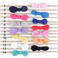 Wholesale Cute Baby Head Bands - 3 Inch Girl Nylon Headband Solid Cotton Knot Baby Hair Bows Cute Kid Nylon Soft Head band