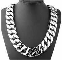 Wholesale Titanium Thick Necklaces - 72CM 31mm Super Heavy Thick Silver Flat Round Curban Curb Chain Titanium steel Link necklace Mens Boys Chain 316L Stainless Steel Necklace